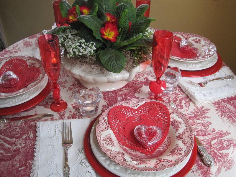 Opulent cottage valentine s day tablescape - Valentine s day table setting ...