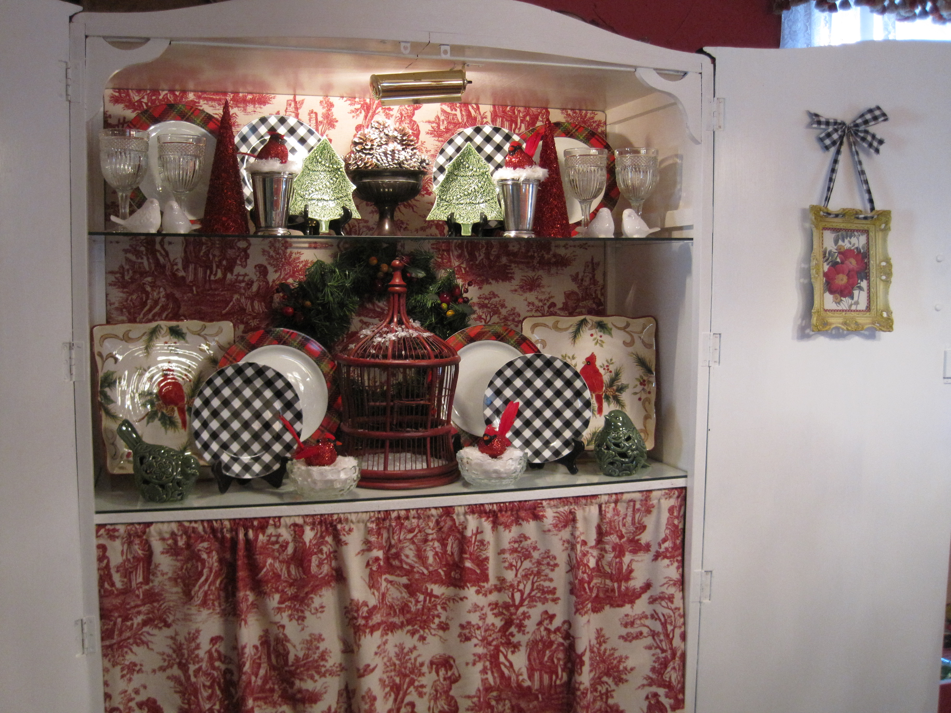 The Space Behind The Toile Curtain Is Crammed Full, Believe Me, And The  Shelves Are My Fun Place To Decorate! I Just Painted The Cabinet White And  Added The ...