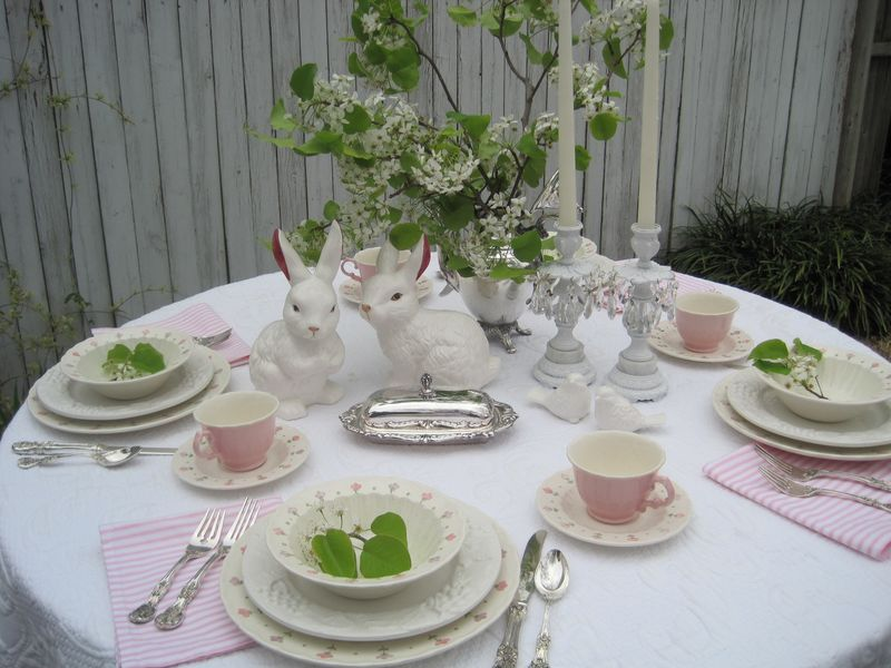 How to Set a Table Spring Tablescape with White and Pink China and Floral Accents