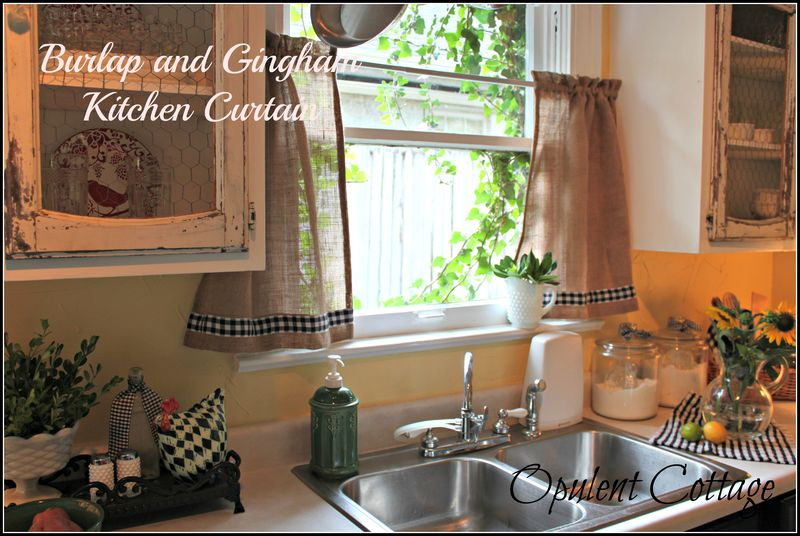Opulent Cottage Burlap Gingham Kitchen Curtain Via