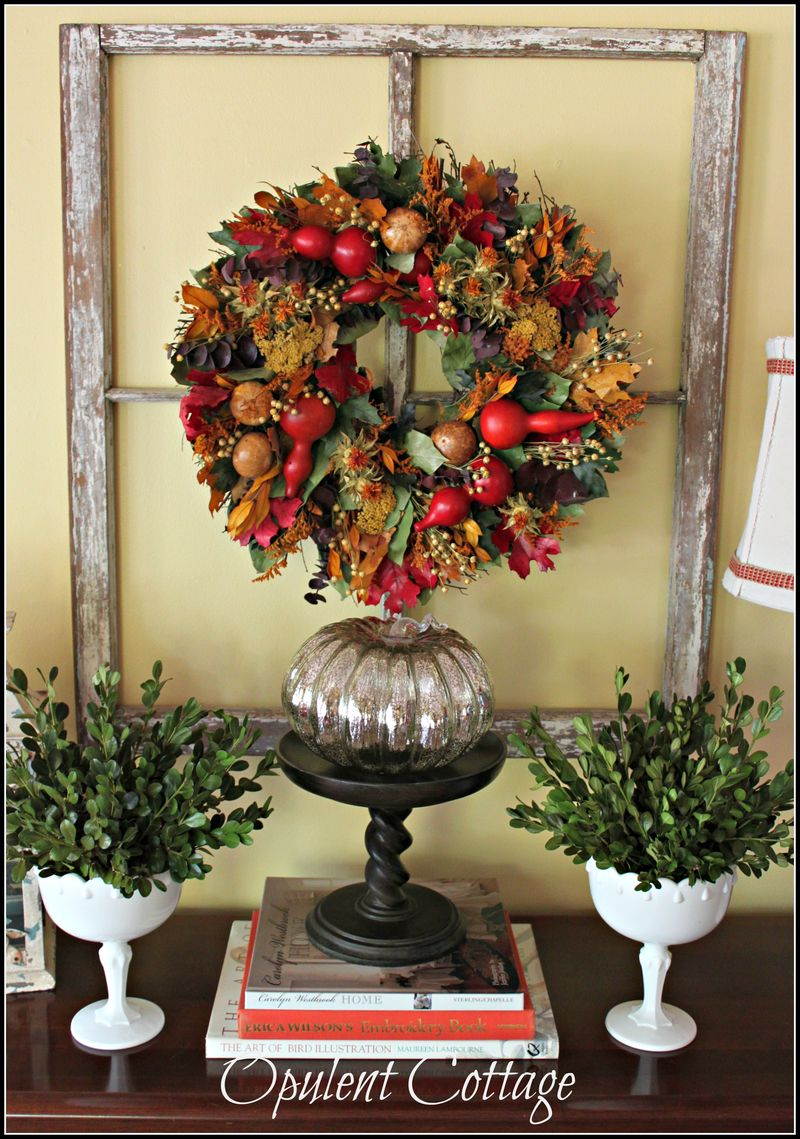 Opulent Cottage Fall Sofa Table Display