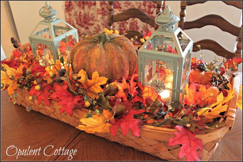 Opulent Cottage Harvest Basket Centerpiece