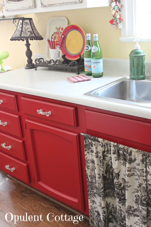 Opulent Cottage Our Red Kitchen Cabinet Paint Color