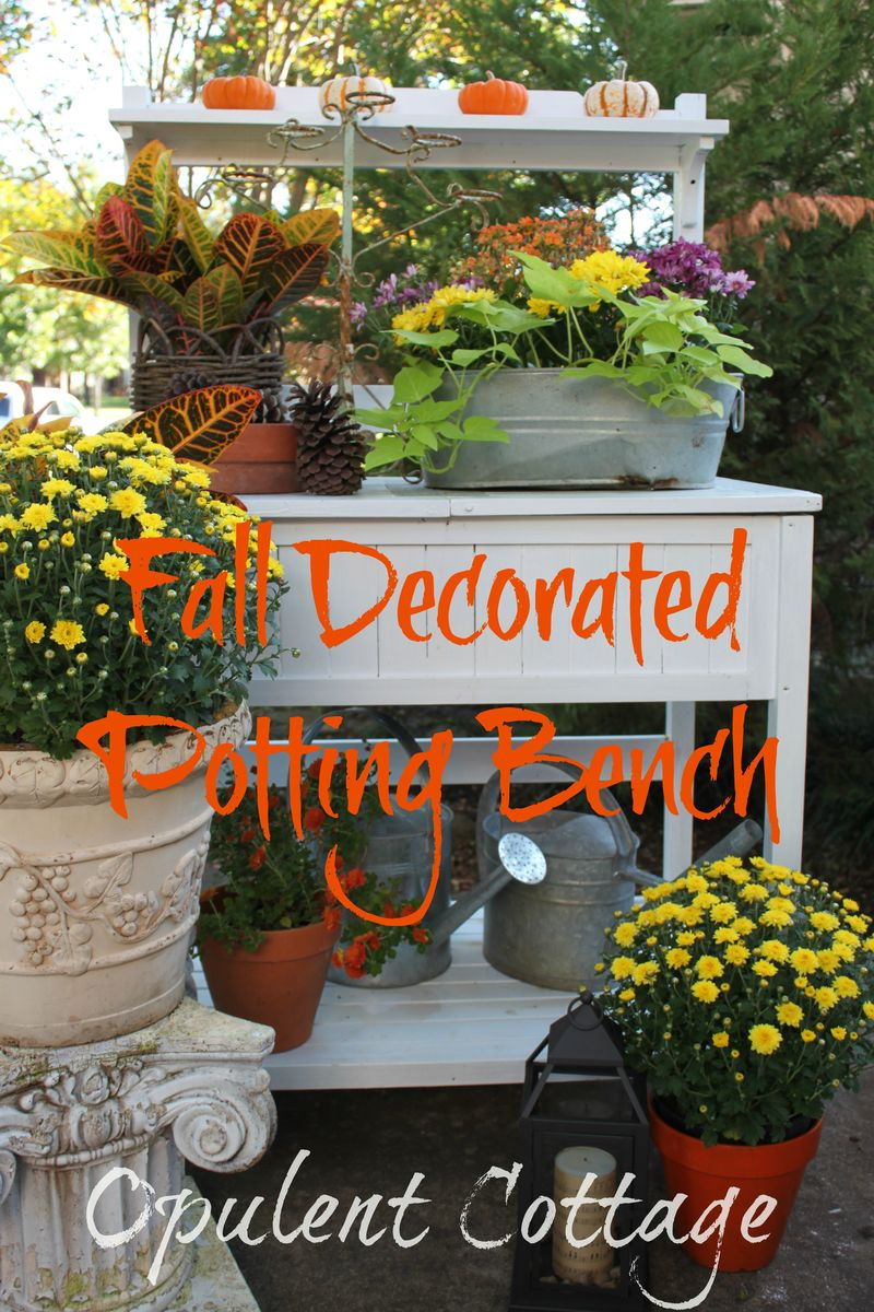 Opulent Cottage Fall Decorated Potting Bench