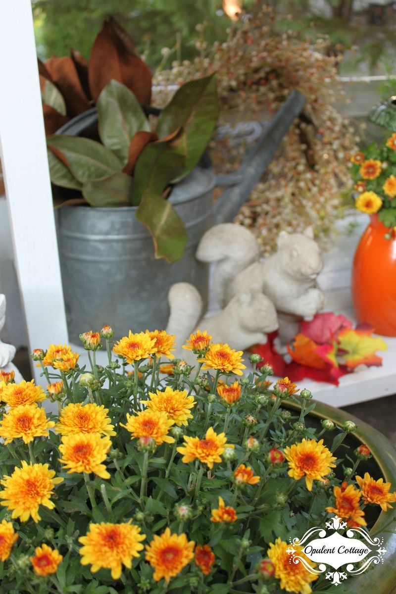 Opulent Cottage Fall Home Tour Potting Bench Vignette2