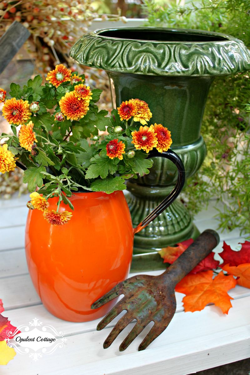 Opulent Cottage Fall Home Tour Vintage Enamel Pitcher