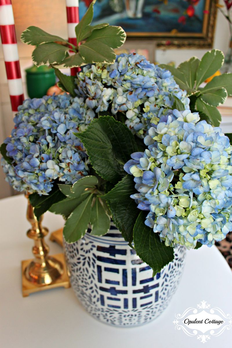 Opulent Cottage Ginger Jar with Hydrangeas for One Room Challenge