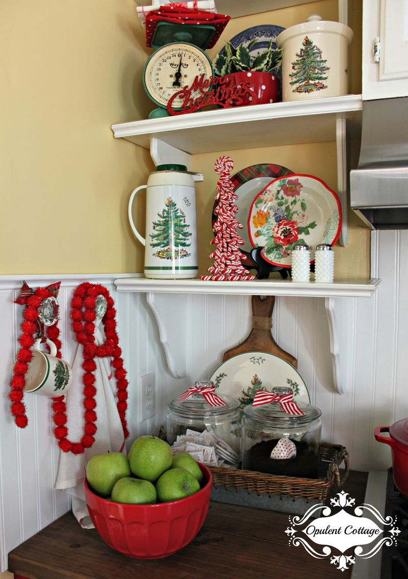 Opulent Cottage Christmas Kitchen Shelves Spode 2015