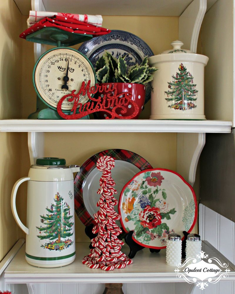 Opulent Cottage Christmas Kitchen Shelves Vintage 2015