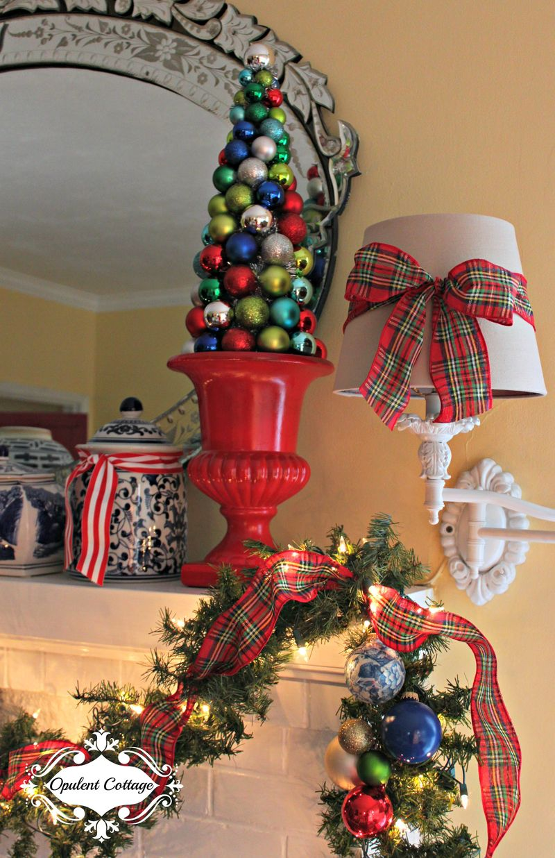 Opulent Cottage Christmas Mantel Topiaries 2015