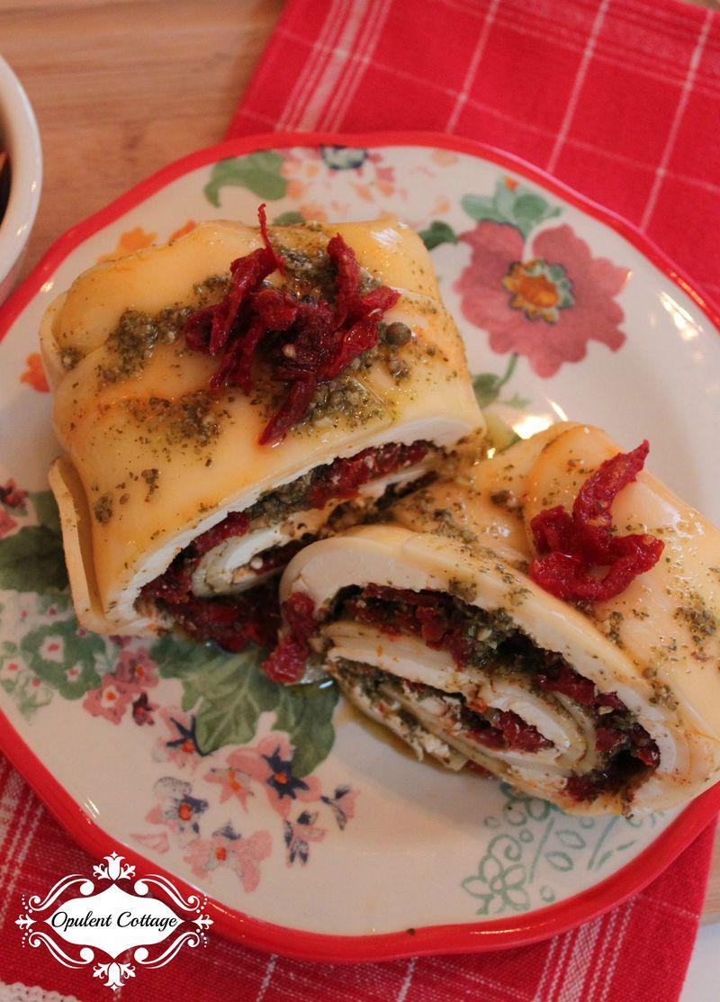 Opulent Cottage Sundried Tomato Cheese Roll Garnish