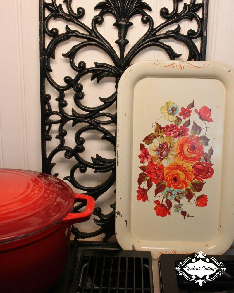 Opulent Cottage Vintage Tole Tray