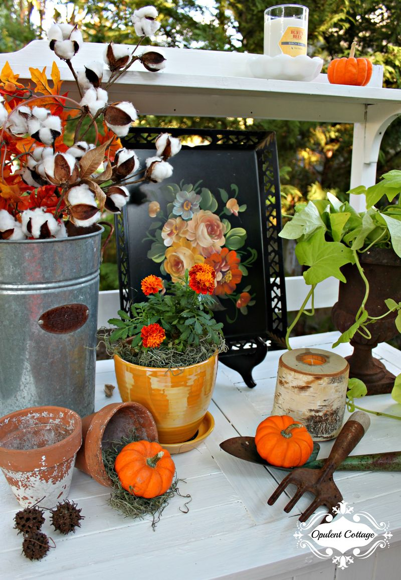 Opulent Cottage Fall Home Tour Potting Bench Vignette
