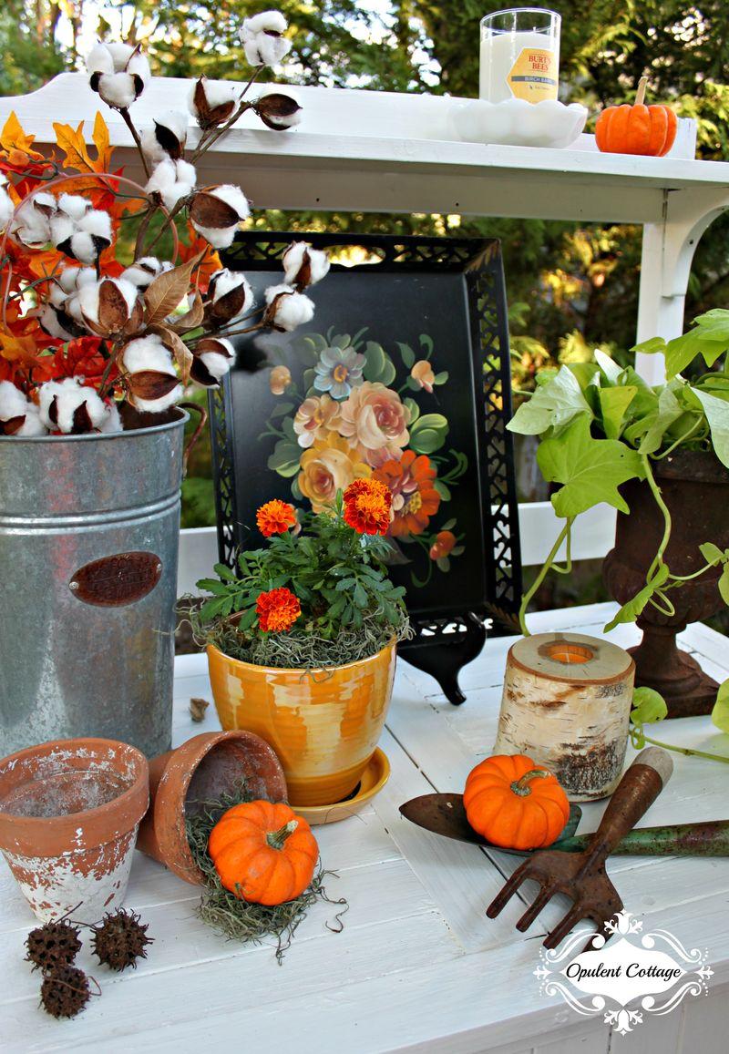Opulent Cottage Fall Home Tour Potting Bench Vignette