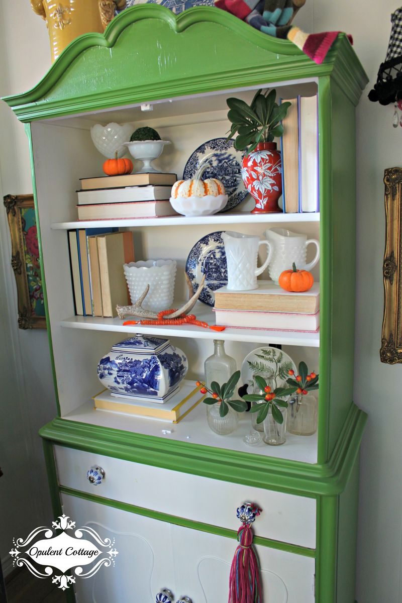 Opulent Cottage Antique Cabinet Painted Behr Thyme