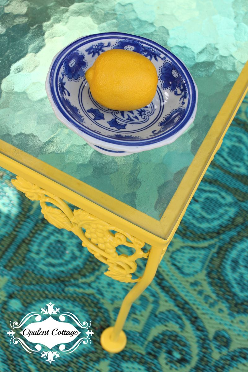Opulent Cottage Vintage Table painted Rustoleum Sun Yellow for One Room Challenge