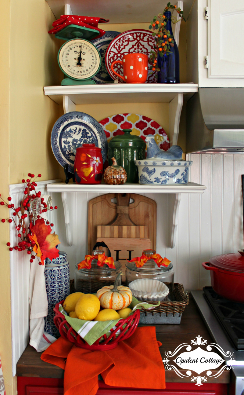 Opulent Cottage Fall Kitchen Shelves