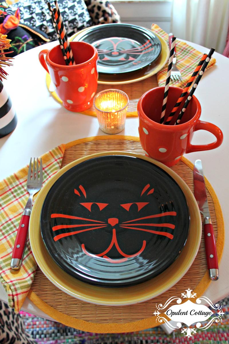 Opulent Cottage Halloween Kitty Tablescape