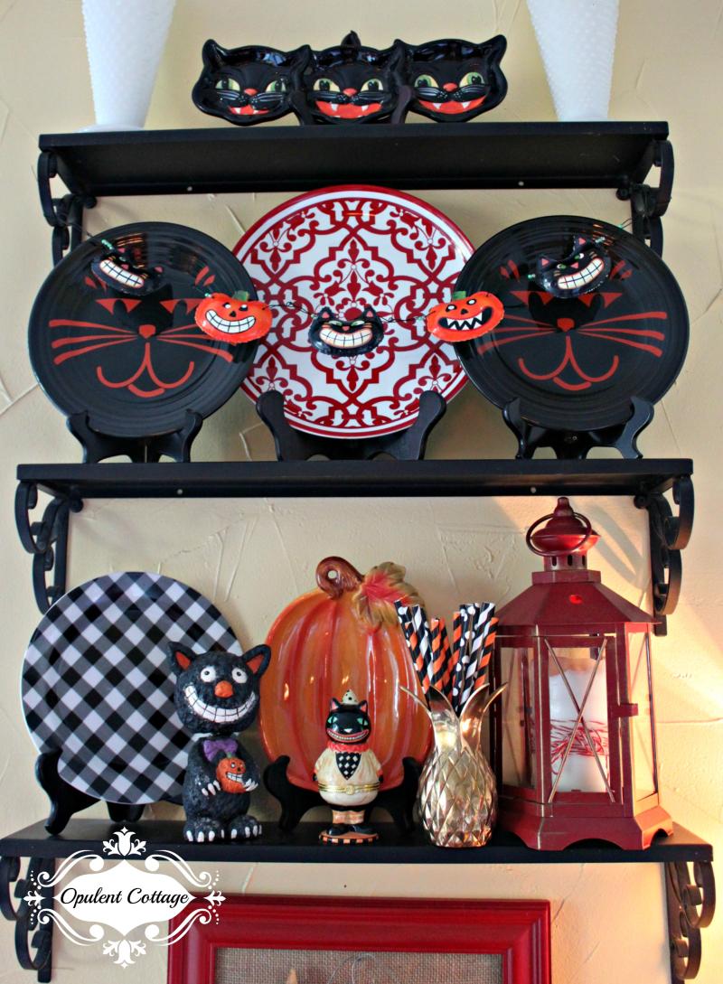Opulent Cottage Halloween Shelves