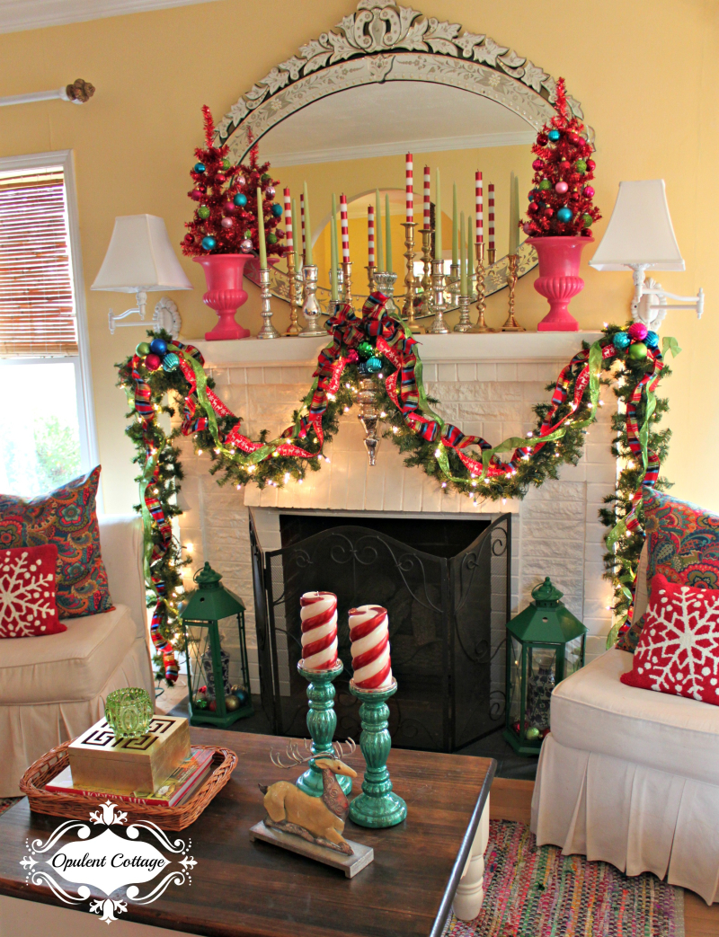 Opulent Cottage Bright Christmas Mantel 2016