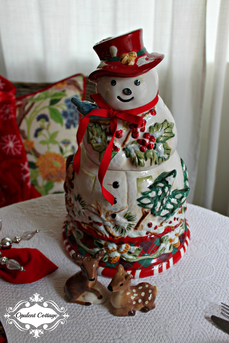 Opulent Cottage Snow Day Snowman