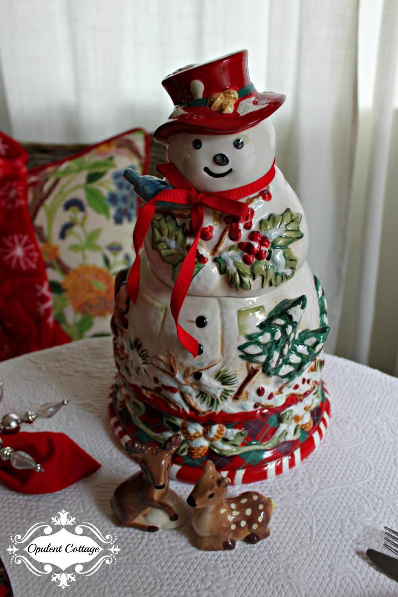 Opulent Cottage Snow Day Snowman
