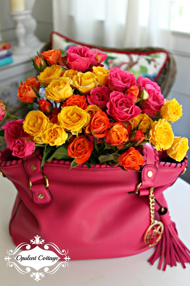 Opulent Cottage Roses in Handbag