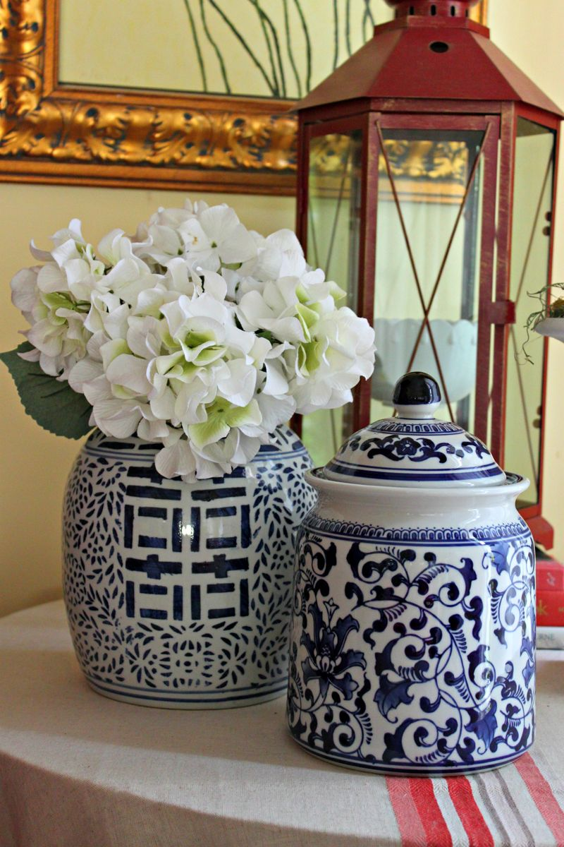 Opulent Cottage -- Ginger Jars, Hydrangeas and Red Lantern