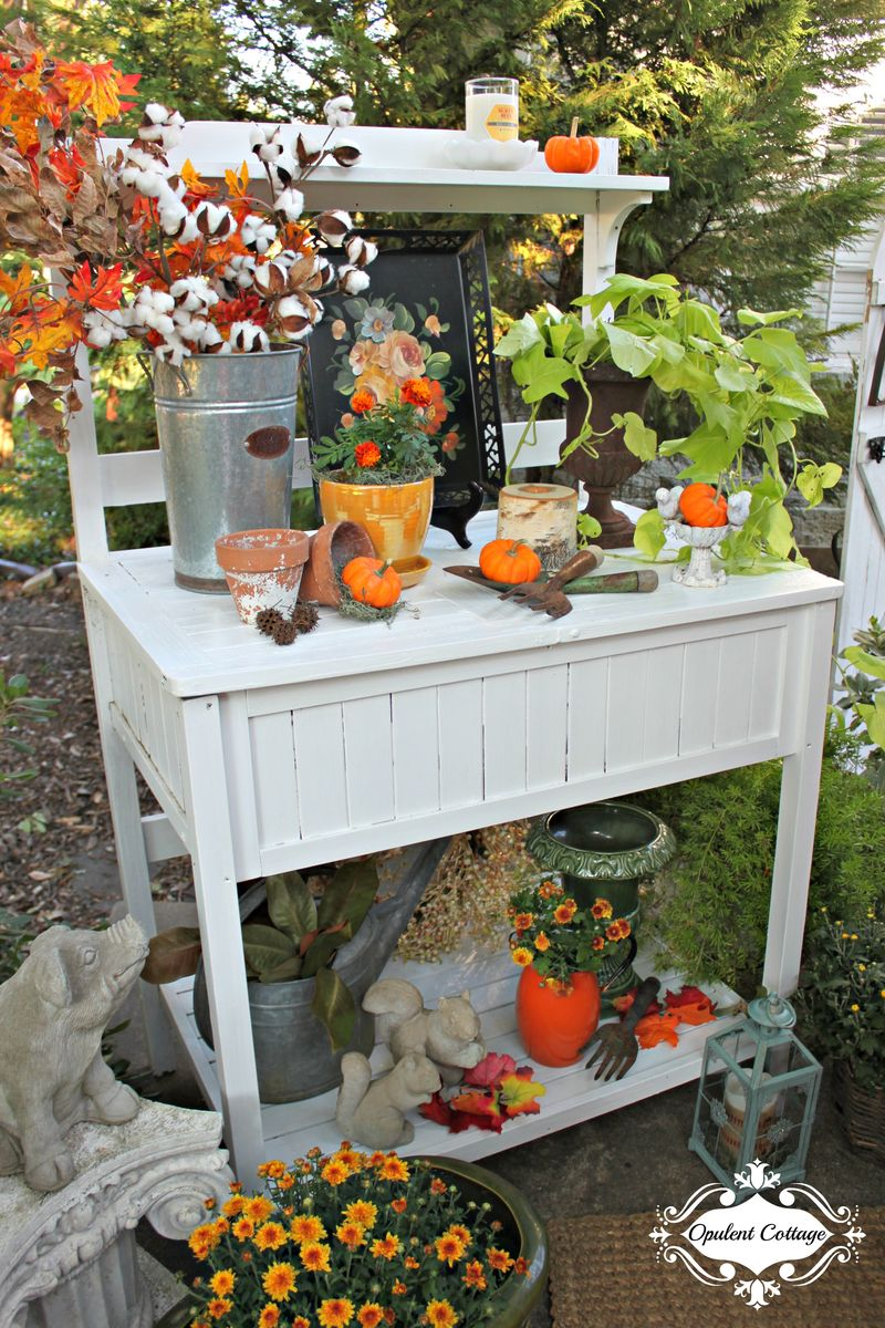 Opulent Cottage Fall Home Tour Potting Bench