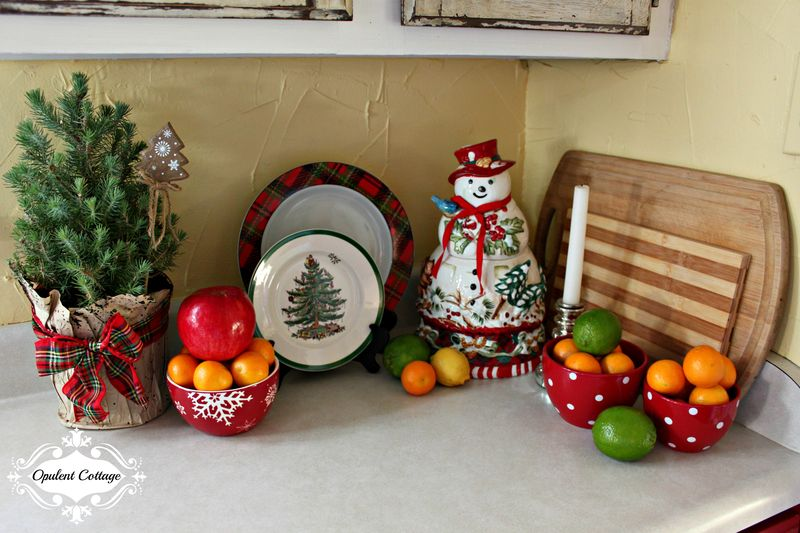 Opulent Cottage Christmas Galley Kitchen Fruit Display 2015