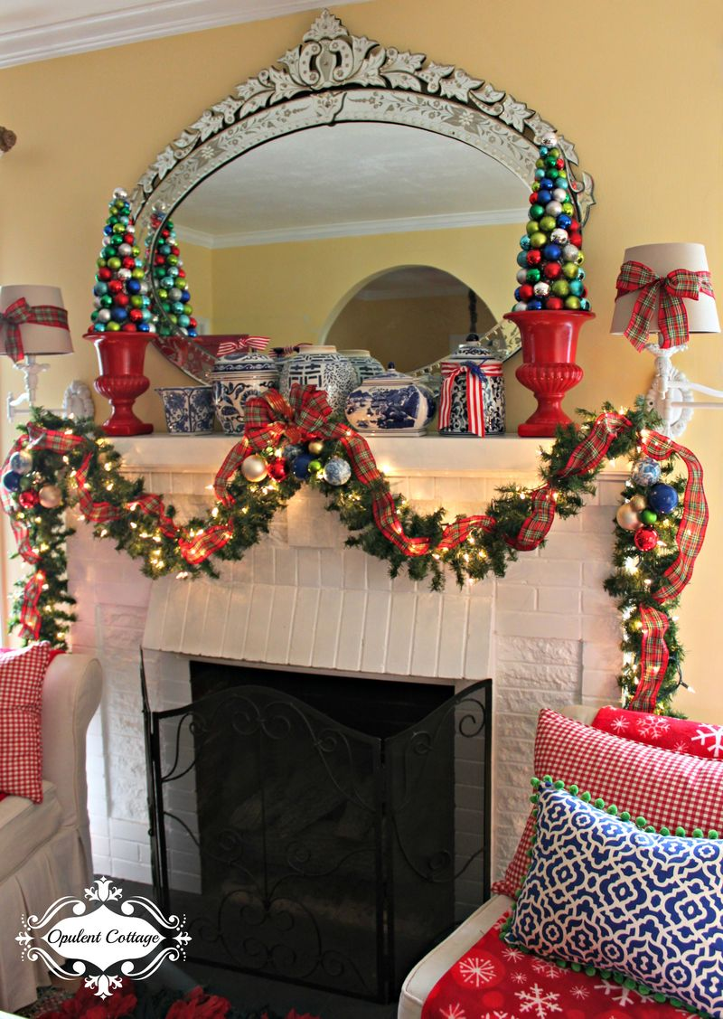Opulent Cottage Christmas Mantel 2015