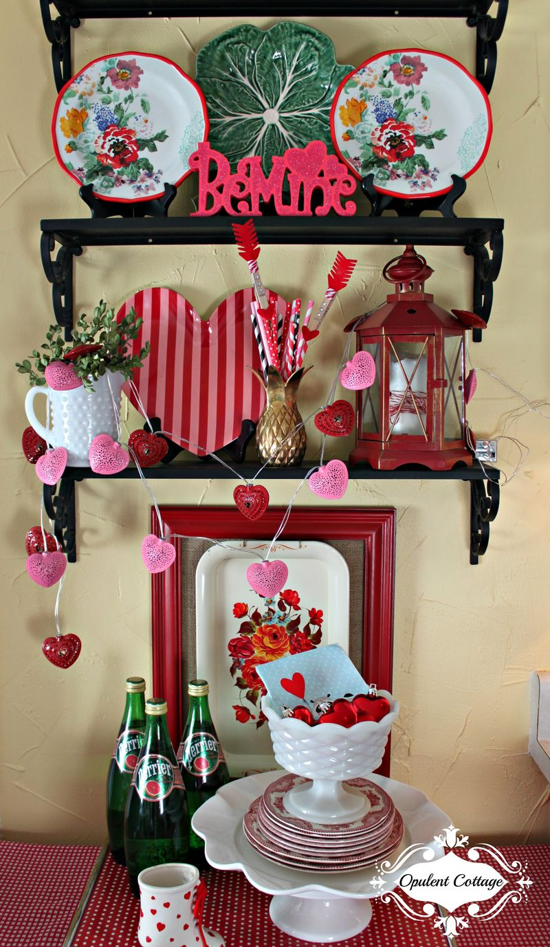 Opulent Cottage Kitchen Valentine's Display