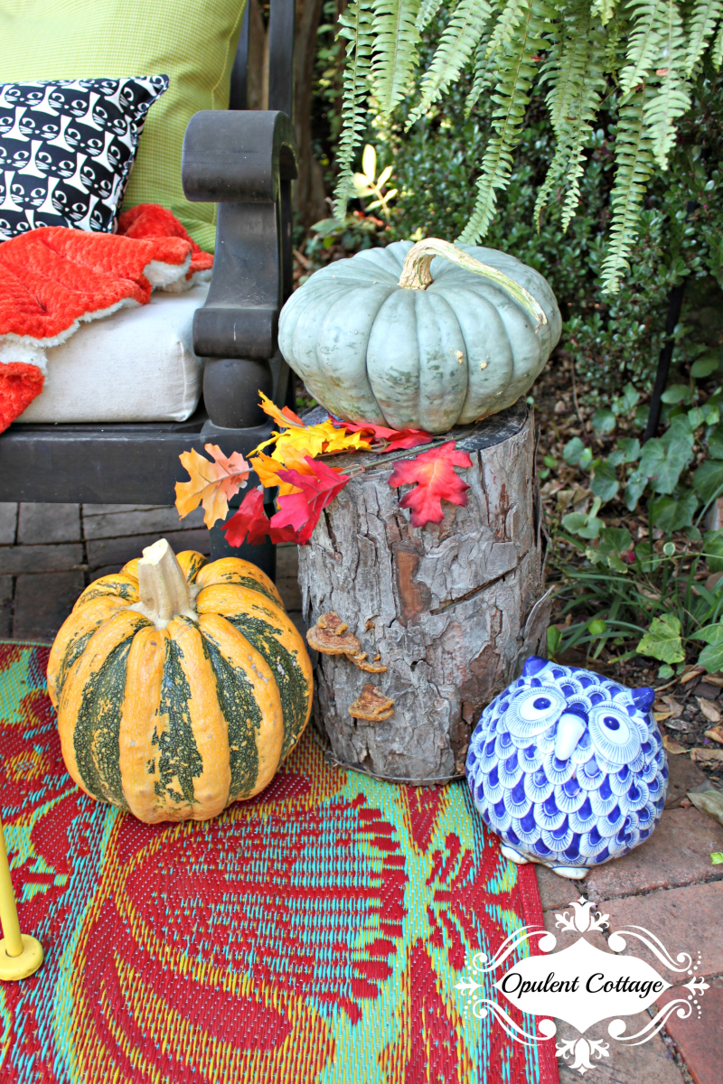 Opulent Cottage Fall Patio Happy Pumpkins