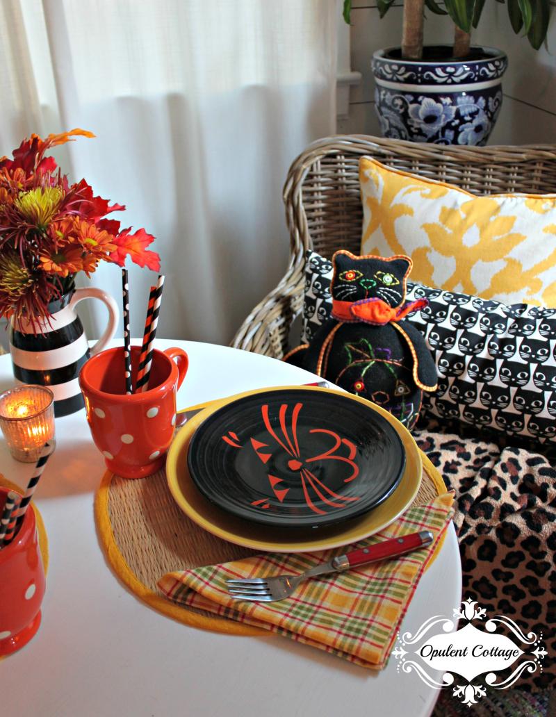 Opulent Cottage Halloween Cat Pillows