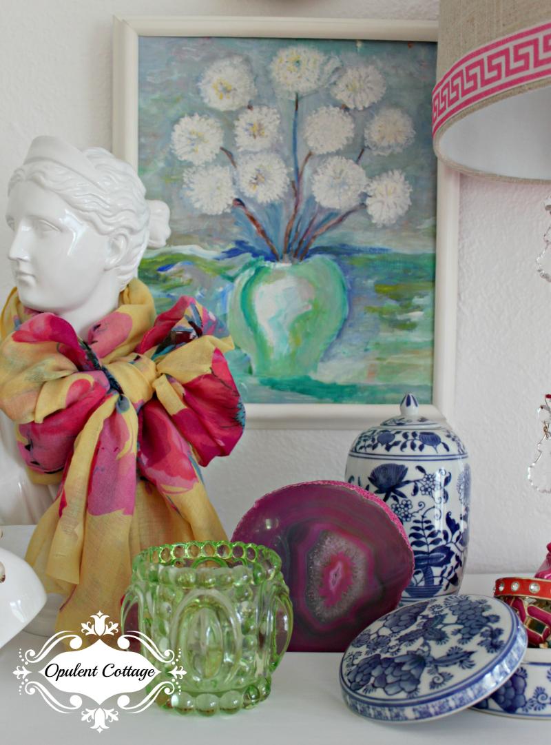 Opulent Cottage Dresser Vignette